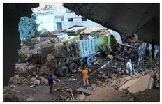 Wrecked aid trucks ensure diseases will spread faster